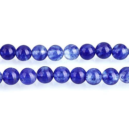Azul Cuarzo Sandía Piedras Preciosas Perlas Redondo 6mm y 8mm Abalorios (, Gemstone Beads Piedras Preciosas, Cristal, Azul, 8 mm