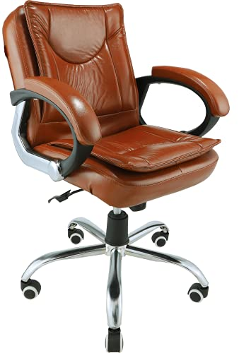 Oakcraft Office Chair/Executive Office Chair/Desk Chair/Computer Chair with Ergonomic Support Tilting Function Upholstered in Leather (Brown)