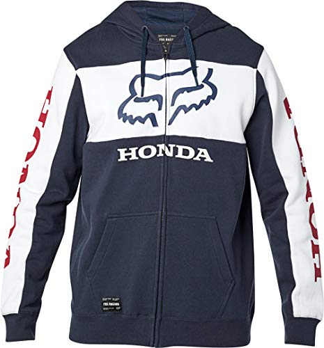 Fox Racing Men's Standard Honda Fleece Zip Hoody,Large,Navy/White