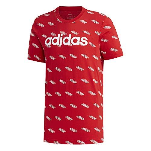 adidas M FAV tee Camiseta, Hombre, Escarl/Blanco, S
