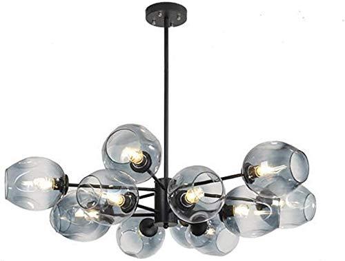 Molecules Sputnik Araña, Shields de cristal transparente Lámpara colgante Luz de lámpara E27 Vintage Industria Luz de techo ajustable Cognac Lampshade 16 Luces
