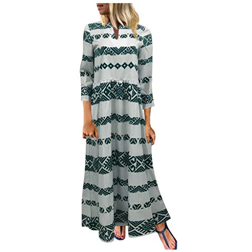 Best Buy! Long Sleeve Dress for Womens Floral Retro Split Neck Long Dresses Chevron Print Oversized ...