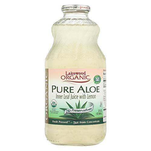 Lakewood Organic Aloe Juice - Fresh Pressed - Inner Fillet - 32 oz - 95%+ Organic - Gluten Free - Contains 100% juice