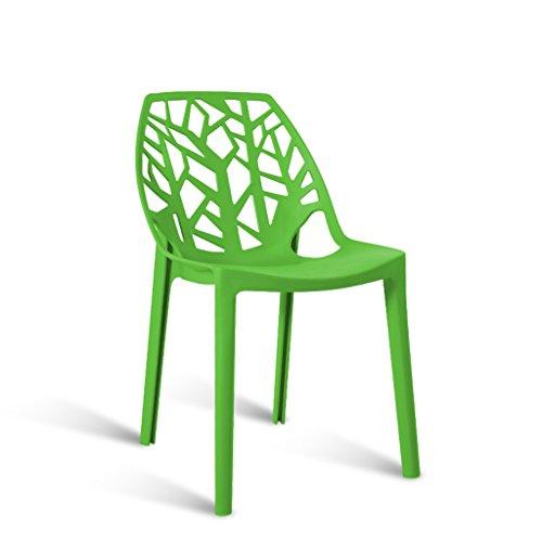 Zons Chaise en Plastique Exterieur Empilable 48x48x81cm Noir