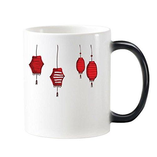 Rode lantaarns Chinese sterrenbeeld Gelukkig Nieuwjaar 2017 Jaar van de Haan Patroon Illustratie Morphing Warmte Gevoelige Veranderende Kleur Mok Cup Melk Koffie Met Handvatten 350 ml