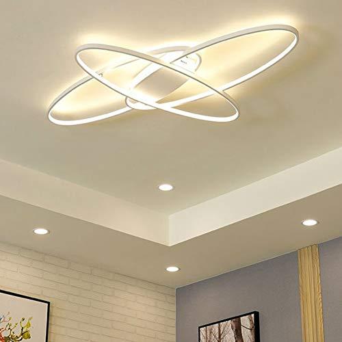 Moderna Lámpara de Techo LED Ovalada para Dormitorio Lámpara de Cocina Regulable Lámpara Colgante Mesa de Comedor Lámpara de Diseño Pasillo Baño Panel Acrílico Mando a Distancia Lámpara de Salón Metal