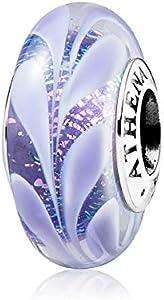 ATHENAIE Abalorio hawaiano para pulsera de plata de ley 925 de cristal de Murano para mujer, color morado