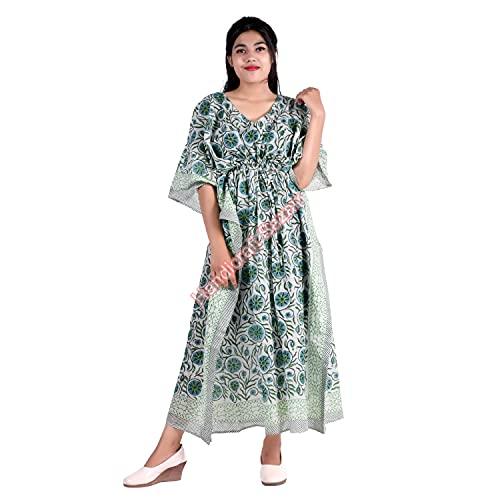 Vestido maxi de algodón para mujer, estilo bazar, talla grande, para mujer, con estampado floral, vestido tipo túnica hippie