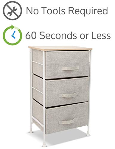 Lowest Price! Luxton Home 3 Drawer Storage Organizer – 60 Second Fast Assembly, No Tools Needed, Small Gray Linen Tower Dresser Chest Dorm Room Essential, Closet, Bedroom, Bathroom (3D,Grey)