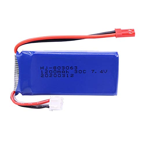 RFGTYH Batería Lipo de 7,4 V 1200 mAh para Yizhan Tarantula X6 H16 RC Drone Quadcopter batería de 7,4 V JST/SM/EL Enchufe para WLtoys V666 V262 V323 SM