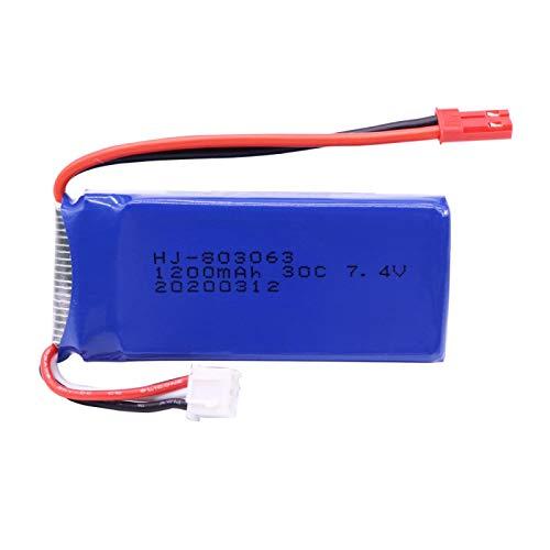 RFGTYH Batteria Lipo 7.4V 1200mAh per Yizhan Tarantula X6 H16 RC Drone Quadcopter Batteria 7.4V JST/SM/El Spina per WLtoys V666 V262 V323 SM
