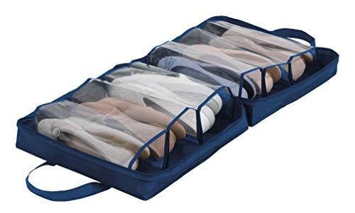 WENKO Schuhtasche Business Premium - Schuhbeutel, Schuhtasche mit 6 Fächern, Polyester, 37 x 37 x 15.5 cm, Dunkelblau