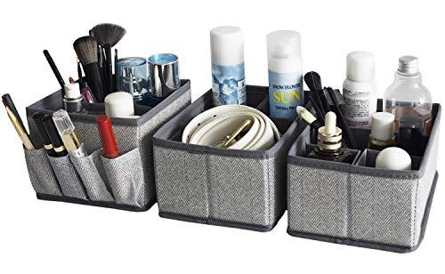 Bathroom Counter Organizer Drawer Dividers - Adjustable Bathroom Baskets Storage Box for Makeup Brushes,Bathroom Countertop or Dresser,Set of 3-Herringbone pattern(Grey)