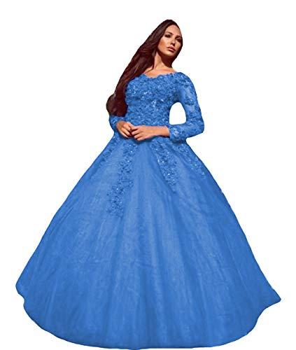P.L.X Frauen Tuell A-Linie Langarm Vintage Brautkleider Mehrfarbig Gotisch Hochzeitskleider