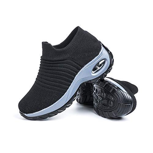 Scarpe Ginnastica Donna Sneakers Running Camminata Corsa Basse Tennis Air Traspiranti Sportive Gym Fitness Casual Comode Nero Taglia 38