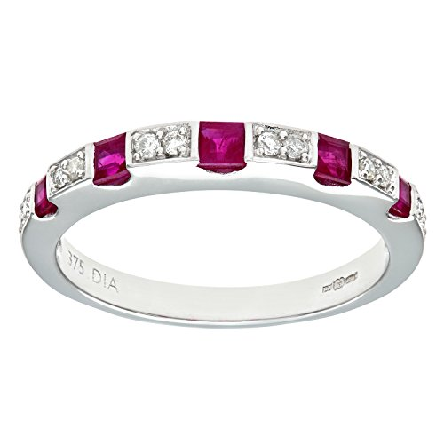 Naava Women's 9 ct White Gold Round Brilliant Cut Diamond and Ruby Eternity Ring, Size N