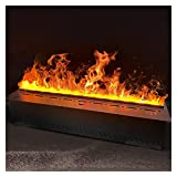 SHUNFAYOUXIANGS Fireplace 47/59 Inches Fireplace Wall Mounted Silence Electric Fireplace Lifelike Flame Effect with Remote, Metal Panel, Automatically Add Water,Black Home Decoration (Size : 150cm)