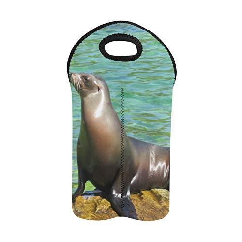 Bolsa de vino recargable Lindo león marino en agua Bolsas de vino reutilizables Portabotellas doble Tote de utilidad Soporte de botella de vino de neopreno grueso Mantiene las bote