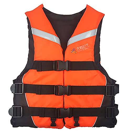 MoYoTo Asistente De Natación Chaleco Salvavidas Evitación De Colisiones De Alta Flotabilidad con Chaleco Reflectante para Nadar, Pescar Y Surfear,Naranja,L