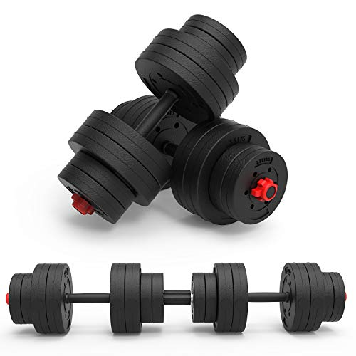 NBJstar Adjustable Dumbbells Pair, 2 in 1 Dumbbell Barbell Set, Free Weights Lifting Dumbbells 68LB, for Home Fitness and Exercise Training
