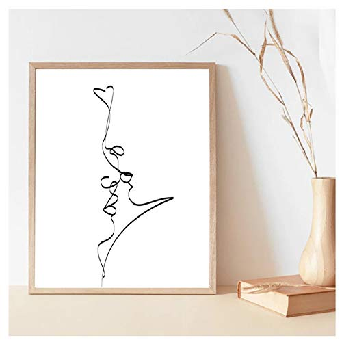 Pareja Abstracta Beso Dibujo de una línea impresión Amor Negro Cartel Blanco Regalos Dormitorio Arte de la Pared Lienzo Pintura decoración 19.6x31.4in (50x80cm) x1pcs Sin Marco