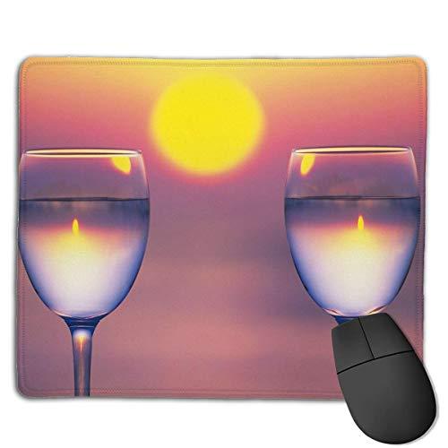 Einzigartiges Mauspad Zwei Weinglas Sonnenuntergang Rechteck Gummi Mousepad Rutschfeste Gaming Mauspad
