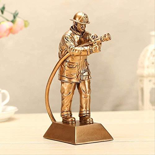 Decorativas Estatuas Decoración para el hogar Adorno Estatuilla Bomberos Figura Estatua Escultura Creativa Resina Artesanía Figura Humana Estatua Escultura 27cm