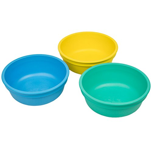 RE-PLAY Made in USA 3pk - 12 oz. Stackable Bowls | Yellow, Sky Blue, Aqua | Eco Friendly Heavyweight Recycled Milk Jugs | Virtually Indestructible | BPA Free | Surf