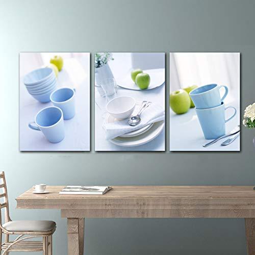 RHBNVR 30 * 40cm canvas schilderij 3 stuks eetkamer decoratie fruitschaal moderne druk canvas muurkunst afbeelding keuken muur canvas schilderij