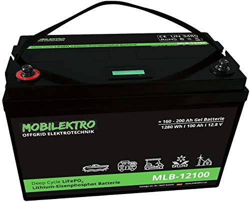 MOBILEKTRO LiFePO4 100Ah 12V 1280Wh Lithium Versorgungsbatterie mit BMS und LCD-Anzeige - EQ 160Ah - 200Ah AGM oder GEL Aufbaubatterie für Wohnmobil, Boot, Camping oder Solaranlage