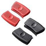 Clyhon- 2 pares de asas de protección térmica de silicona, soporte para mango de asistencia de silicona, sartenes antiquemaduras, tapas de mango para cacerolas de hierro fundido, color rojo y negro