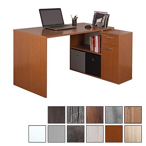 RICOO WM083-ER, Schreibtisch, Holz Eiche Rustikal, Winkelkombination, Arbeitstisch, Bürotisch, Computertisch, Eckschreibtisch, Akten Schrank Lowboard