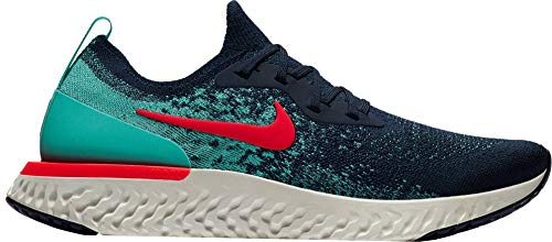 Nike Men's Epic React Flyknit Running Shoes (10.5 M US, College Navy/Hyper Jade/Sail/Red Orbit)