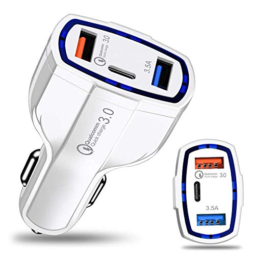 szkn Quick Charge 3.0 with USB Type C Car Charger Built-in Power Delivery PD Port 35W 3 Ports for Apple iPad+iPhone X/8/Plus/Samsung Galaxy+/LG, Nexus, HTC white