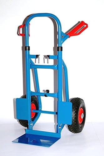 Sackkarre faltbar 250 kg HxBxT: 120x50x53 cm, blau (klappbare Schaufel) (Transportkarre Stapelkarre Handkarre, Umzugskarre, leichte Sackkarre aus Stahl klappbar für Umzug)