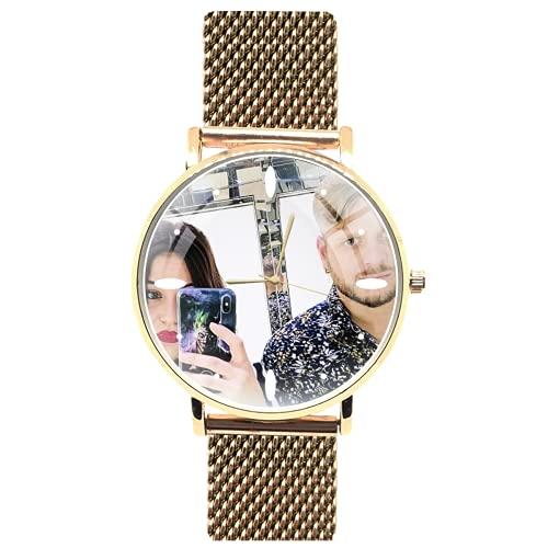Orologio da polso personalizzato con quadrante in rilievo - personalizzabile con foto immagine logo brand testo idea regalo (Oro Rosa - Maglia Milano)
