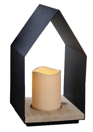 Star 062-91 Home Lantaarn met LED Kaars Metaal/Hout Zwart 15 x 30 cm