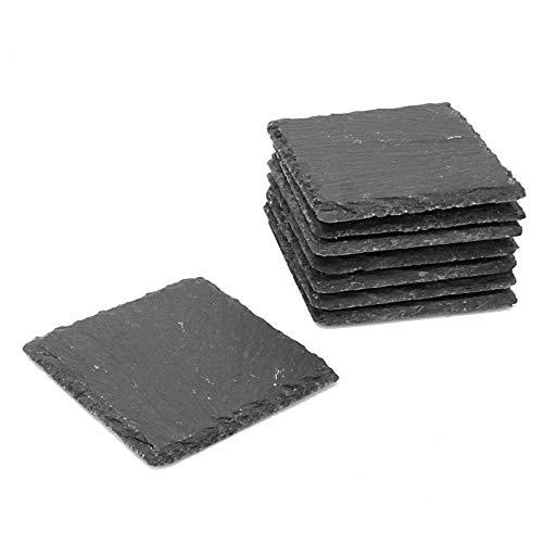 Maison & White Confezione di sottobicchieri in ardesia | Set quadrato fine taglio | Roccia naturale facile da pulire resistente al calore | Base antiscivolo (8)