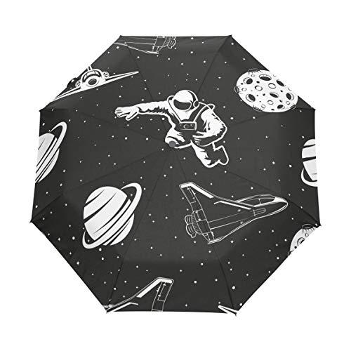 Mr.XZY Astronaute Universe NASA Planète Avion Coupe-vent Pliable Automatique Parapluie de Voyage pour Enfants Compact Ouverture et Fermeture Automatique Parapluie avec Protection UV 2010133