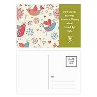 鳥の花の花の植物塗料 詩のポストカードセットサンクスカード郵送側20個