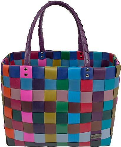 normani® Einkaufstasche Shopper geflochten aus Kunststoff - robuster Strandkorb Vintage Style 38cm x 25cm x 28cm Farbe Classic/Konfetti