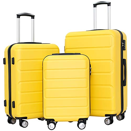 Ceilo Hardside Luggage Sets with TSA Lock Lightweight Suitcase With Spinner Double Wheels,Yellow,3-piece Set (20/24/28)