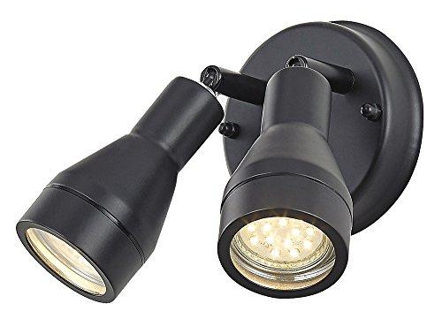 Buiten IP44 verstelbare dubbele spot-wandlamp in mat zwart
