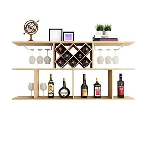 KAISIMYS Weinschrank Wandmontage Weinschrank Moderne minimalistische Diamantform Weinregal MDF Display Schwimmende Trennwand Lagerregal Rahmen Weingläser und Flaschenhalter (Farbe: Weiß, Größe:
