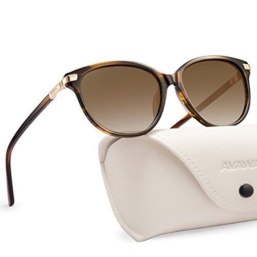AVAWAY UV400 Mujer Gafas De Sol Polarizadas Protección Acetato Marco (Clásico - Marrón Degradado)