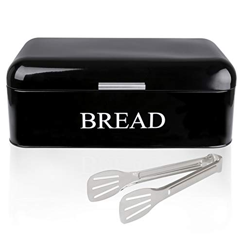 DAILYLIFE Large Bread Box For Kitchen Counter Dry Food Storage Container, Bread Bin, Store Bread Loaf, Baked Goods & More, Retro Vintage Design, Black