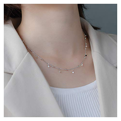 CNZXCO Joker Chain, Choker Collar, S925 Silver Necklace, Female Simple Niche Slice Tassel Button Chain, Chocker Short Necklace