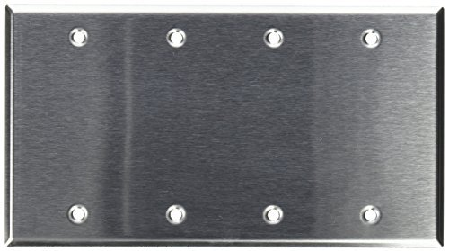Morris Products 430 Stainless Steel Wall Plates – 4 Gang Blank – Large, Tough, Smooth Finish – Provides Extended Life in Corrosive Environments – UL Listed – 1 Piece