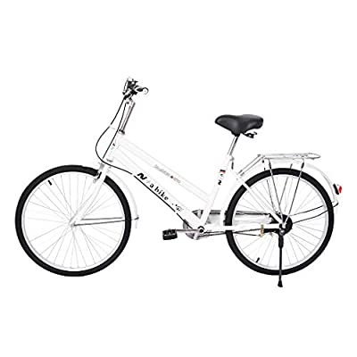 """Women's 24in Beach Cruiser Bicycle, 24"""" Wheels, White with Black Seat and Grips-?U.S. Shipping? (A-10)"""