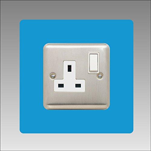 Omlijsting voor enkele stopcontacten, 3 mm, vierkant, met lichtschakelaar, acryl, 16 kleuren (zwart, grijs wit, ivoorkleurig, blauw, bruin, groen en nog veel meer), blauw